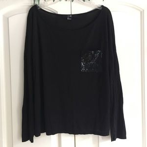 Black Long Sleeve With Sequin Pocket